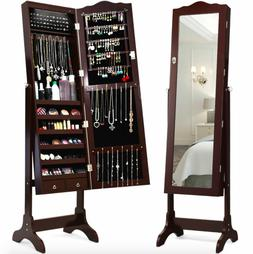 Full Size Mirrored Jewelry Cabinet Storage w/ Drawer 14 Led