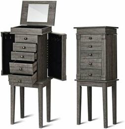Giantex Standing Jewelry Armoire With Mirror, 5 Drawers  8 N