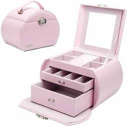 Girls Lovely Jewelry Box Pink Storage Case Organizer Faux Le