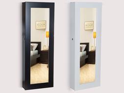Glass Mirrored Jewelry Cabinet Armoire Organizer Storage Wal