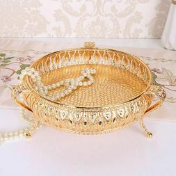 Gold Color Fruit Tray Candle Mirror Glass Vintage Display Lu
