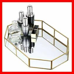 Hipiwe GOLD Mirrored Makeup Tray Metal Decorative Jewelry Va