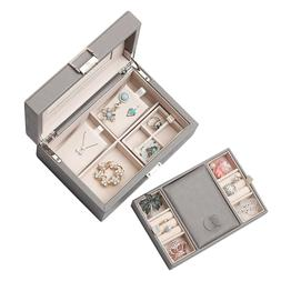 Grey Mirrored Jewelry Box Organizer 2-Layer for Necklaces Ea