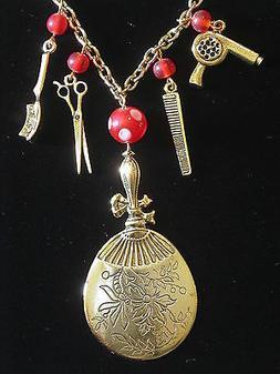 Hair Stylist Necklace Large Mirror Charm 24 Karat Gold Plate