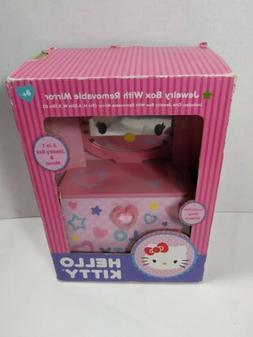HELLO KITTY GIRL'S WOODEN JEWELRY BOX W/HAND HELD MIRROR & D