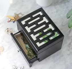 Hives Honey Amy Jewelry Box Black Mirrored Drawer Felt Lined