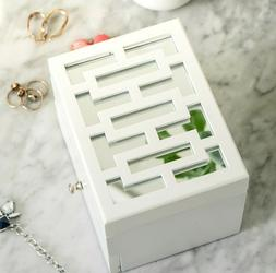 Hives Honey Amy Jewelry Box White Mirrored Drawer Felt Lined