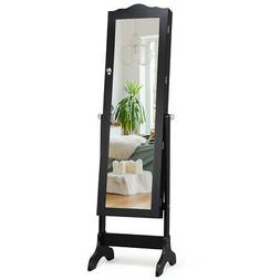 Home Bedroom Jewelry Cabinet Organizer Box w/Mirror Lockable