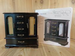 jaclyn smith wooden glass door upright jewelry box black fin