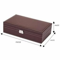 Jewelry Box 8 Slots Watch Organizer Storage Case with Lock a