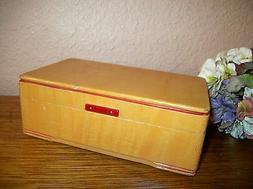 Jewelry Box Antique 1930s Wood Red Trim Mirrored Fliptop Lin