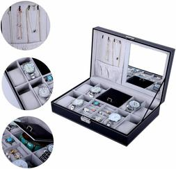 Jewelry Box 8 Watch Display Case Organizer Black PU Leather