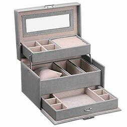 Jewelry Box for Women Girls Jewelry Organizer with Lock Mirr