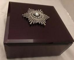Jewelry Box mauve color mirrored,silver sparkle accent on to