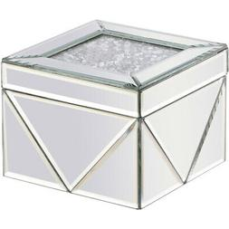 JEWELRY BOX MIRRORED CLEAR GLASS CRYSTALS LARGE DECO VANITY