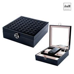 Jewelry Box Organizer Storage Tray Wooden PU Mirror Lock Tra