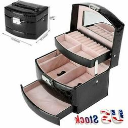 Jewelry Box Storage Organizer Case Ring Earring Necklace Mir