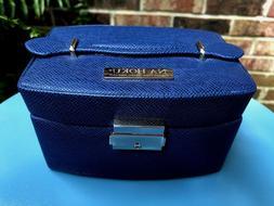 NA HOKU Jewelry Box w/Key Felt Lined Drawers Mirror Blue Fau
