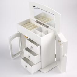 Jewelry Box White Jewelry Storage Wooden Case Organizer with
