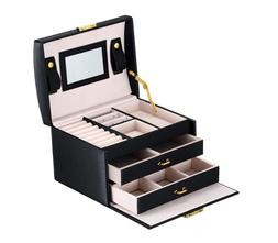 Goldwheat Jewelry Box with Lock and Mirror Lockable Travel J