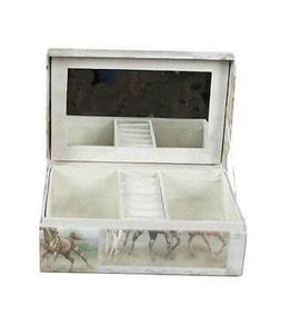 Jewelry box with mirror in rigid fabric Horses