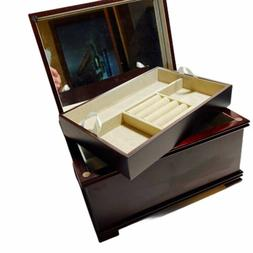 Mele Jewelry Box Wood Walnut Removable Lift Tray Full Mirror