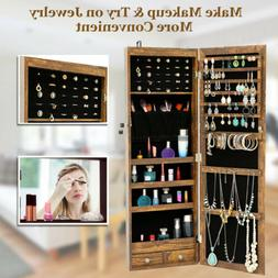 Jewelry Cabinet Mirror Storage with LED Light Wall Door Hang