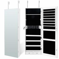 Jewelry Cabinet Organizer Armoire Mounted Lockable w/Framele