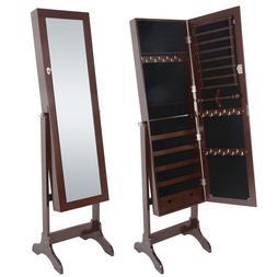 Jewelry Cabinet Storage Organizer Armoire Mirror Free Standi
