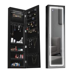Jewelry Cabinet with Full Length LED Touch Screen Lighted Mi