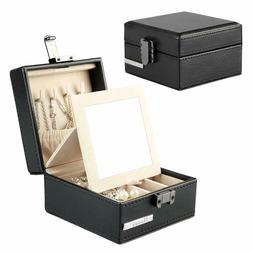 Jewelry Boxes Travel Organizer Small With Mirror For Necklac