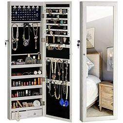 Jewelry Mirror Armoire Cabinet, Large Storage Organizer W/LE