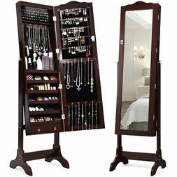 Jewelry Mirrored Cabinet Armoire Storage Organizer w/Drawer