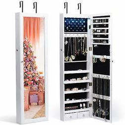 Jewelry Organizer 6 LED Light Cabinet with Mirror Lockable W