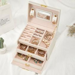 Jewelry Storage Box Case Built-in Mirror Watch Ring Earring