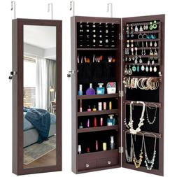 Jewelry Storage Mirror Cabinet W/ LED Lights Wall/Door Hung