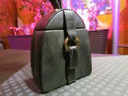 Jewelry Travel Case Box w/ Wristlet & Mirror - Black Embosse