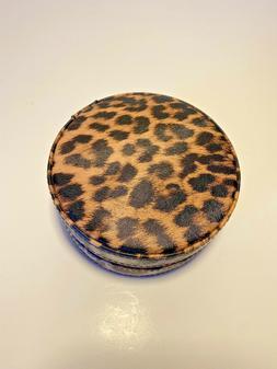 Jewelry Travel Case Round Zip Up Leopard Print Mirror New wi