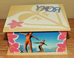 L@@K NEW ROXY QUICKSILVER SURFER GIRL JEWELRY BOX  WOOD TRIN