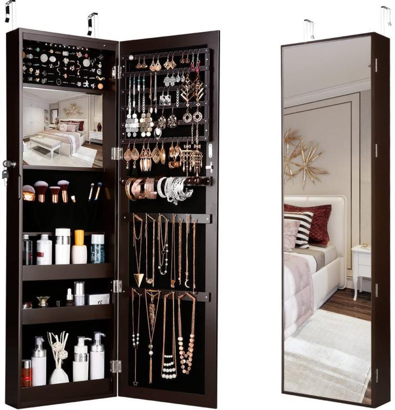 LANGRIA 10 LEDs Wall Door Mounted Jewelry Armoire Full-Lengt