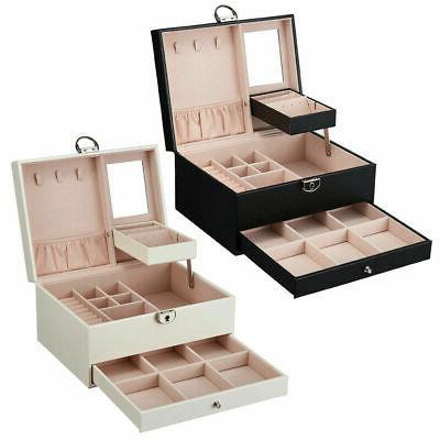 2Layer Jewelry Box Organizer Mirror Earring