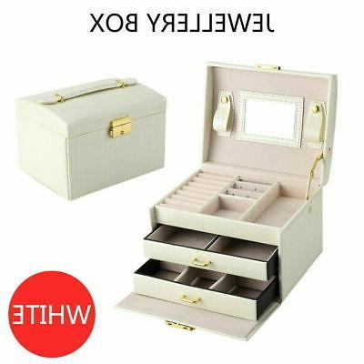 2layer leather jewelry box organizer storage mirror