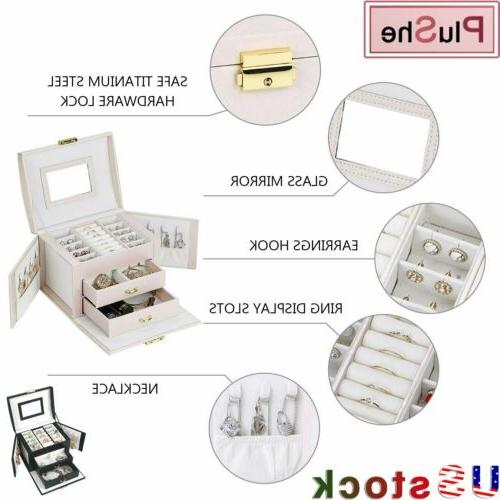 3-Layer Jewelry Leather Earring Necklace Organizer With