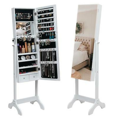 Lockable Mirror Jewelry Cabinet Armoire Organizer Storage Fr
