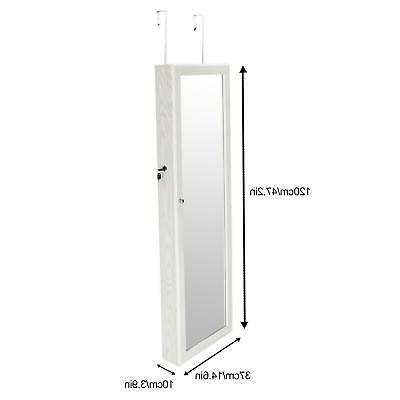 Wall Door Mirror Jewelry Armoire Organizer