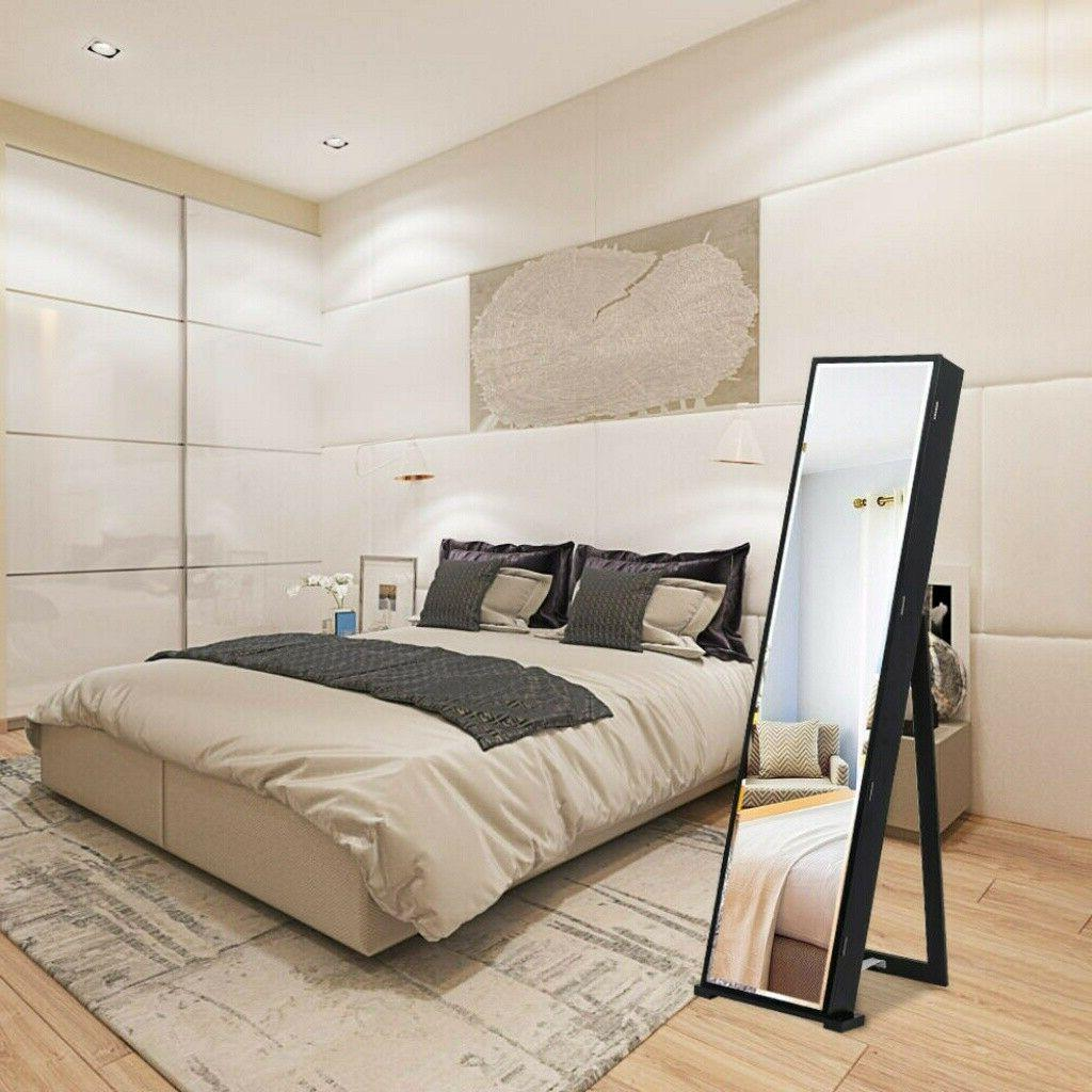 """59"""" Jewelry Cabinet Long Mirror Storage with LED Black"""