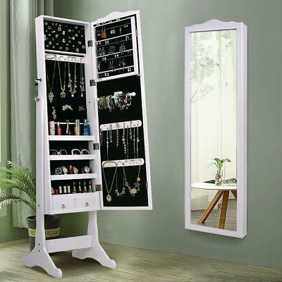large lockable solid jewelry mirror cabinet armoire