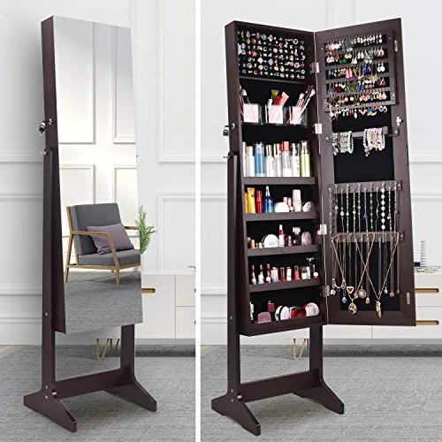AOOU Armoire,Full Mirror Jewelry Storage Adjustable,