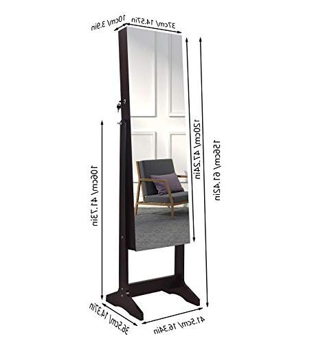 AOOU Armoire,Full Mirror Jewelry Cabinet, with Large Storage Capacity, Adjustable,