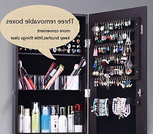 AOOU Jewelry Organizer Jewelry Armoire,Full Mirror Jewelry Storage Adjustable,